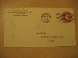 HONOLULU 1927 The Bank Of Bishop Cancel USA Postal Stationery Cover HAWAII - Hawaï