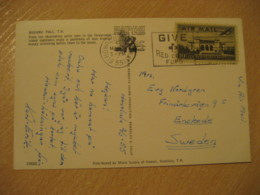 HONOLULU 1955 To Enskede Sweden Red Cross Cancel Air Mail USA Stamp On NUUANU PALI Post Card HAWAII - Hawaii