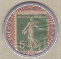 Timbre Monnaie Crédit Lyonnais 1920. 5 Centimes Semeuse. - Publicités