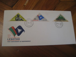MASERU 1967 First Anniversary Independence Crocodile 3 Triangle Stamp FDC Cancel Cover LESOTHO - Lesotho (1966-...)