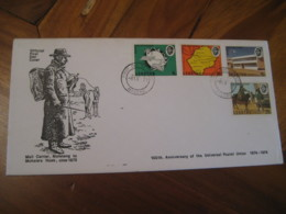 MASERU 1974 UPU Centenary Mail Carrier Mafeteng To Mohale's Hoek Rural Horseman FDC Cancel Cover LESOTHO - Lesotho (1966-...)