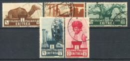 Eritrea 1933 Sass. 205-207,209,211 Usato 100% Sog. Africani, Colonia Italiana - Eritrea