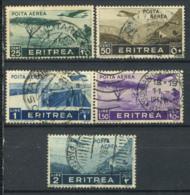 Eritrea 1936 Sass. 17,18,21,22,23 Usato 100% Col. Italiana,  25c., 50c., 1l., 1,5l. 2l. - Eritrea