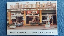 CPM DOUBLE HOTEL DE FRANCE CHATEL GUYON 63 BIERE MUTZIG BAR RESTAURANT BRASSERIE CENTRE DE NUTRITION PROP MME DEQUAIRE - Châtel-Guyon