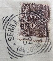 SERRASANQUIRICO  ANCONA   Annullo Tondo Riquadrato  SU LETTERA PER IESI IN DATA 20/11/1902 - Storia Postale