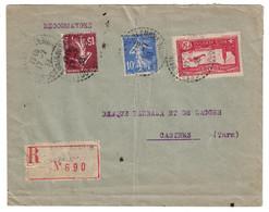 1933 - TIMBRE POSTE AERIENNE PA 5 + SEMEUSE 10c 15c Sur LETTRE RECOMMANDÉE De SAINT ST GERMAIN Du SALEMBRE DORDOGNE TARN - 1921-1960: Modern Period