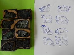 Lot De 8 Tampons Scolaires Animaux Cochon Chat Mouton Vache - Scrapbooking