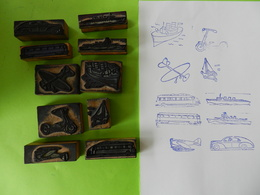 Lot De 10 Tampons Scolaires Avion Voiture Bateau Trotinette - Scrapbooking