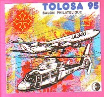 BLOC CNEP N° 20 - SALON PHILATELIQUE TOLOSA 95 AIRBUS A 340 - HELICOPTERE - CNEP