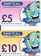 2-CARTES-PREPAYEES-GB-5£-10£-SWIFTCALL--Plastic Fin R° Mat-TBE- - Royaume-Uni