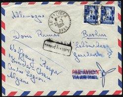 ALGERIEN 328 Paar BRIEF, 1955, 15 Fr. Blau/hellblau Im Paar Auf Brief Eines Deutschen Fremdenlegionärs Aus Der Nähe Von  - Algerien (1962-...)