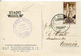 44578 Italia,special Card Circuled Intern.university Games,postmark 3.9.1933 Torino Stadio Mussolini+linear Postmark RR - Stamps