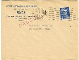ENVELOPPE  A EN-TETE SOCIETE AUTOMOBILE DU JEU DE PAUME SIMCA PARIS - Postmark Collection (Covers)