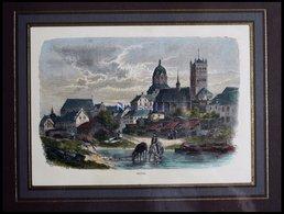 NEUSS, Gesamtansicht, Kol. Holzstich Aus Stieler Um 1880 - Lithographien