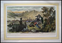 OBERAMMERGAU, Gesamtansicht Mit Theater,kolorierter Holzstich Von Millers Um 1880 - Lithographien