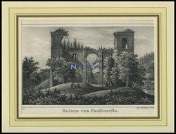 PAULINZELLA: Die Ruinen, Lithographie Von Pietsch Um 1840 - Lithographien