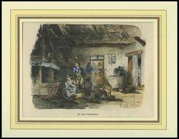 POMMERN: In Einer Bauernstube, Kolorierter Holzstich Von Kühl Von 1881 - Lithographien