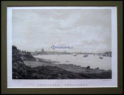 RENDSBURG, Gesamtansicht Mit Blick über Die Eider, Lithographie Mit Tonplatte Von Alexander Nay Nach J. Hellesen Bei Emi - Lithographien