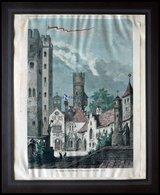 SCHWANECK: Der Schloßhof Der Burg, Kolorierter Holzstich Nach Ruhn Um 1880 - Lithographien