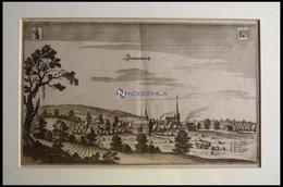 SONNENBURG B. KÜSTRIN, Gesamtansicht, Kupferstich Von Merian Um 1645 - Lithographien