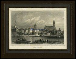 STRAUBING, Gesamtansicht übers Wasser, Stahlstich Von Gerhardt/Poppel Um 1840 - Lithographien