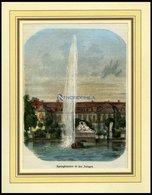 STUTTGART: Springbrunnen In Den Anlagen, Kolorierter Holzstich Von Griesinger, 1866 - Lithographien