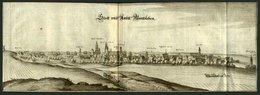 WANZLEBEN/SACHS., Gesamtansicht, Kupferstich Um 1650 - Lithographien