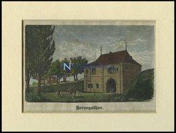 WOLFENBÜTTEL: Das Herzogsthor, Kolorierter Holzstich Auf Vaterländische Geschichten Von Görges 1843/4 - Lithographien
