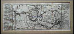 DÜNKIRCHEN: Festungsplan Mit Umgebung, Kupferstich-Plan Von Bodenehr Um 1720 - Lithographien