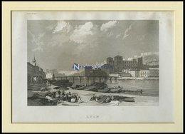 LYON, Teilansicht, Stahlstich Von B.I. Um 1840 - Lithographien