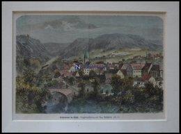 NIEDERBRONN/ELS., Gesamtansicht, Kolorierter Holzstich Nach Reinhardt Um 1880 - Lithographien