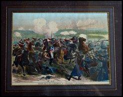 REISCHOFFEN: Schlachtenszene Des 8. Und 9. Regiments, Kolorierter Holzstich Aus Malte-Brun Um 1880 - Lithographien