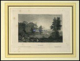 DIODATI, Ansicht Einer Romantischen Villa Mit Mediterranem Garten Am Wasser, Stahlstich Hildburghausen, 19. Jh. - Lithographien