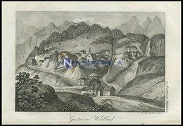 GASTEINER WILDBAD, Land Salzburg/Alpen, Gesamtansicht, Von Bergen Umschlossen, Kupferstich Von F. Rosmäsler Jun. Von 182 - Lithographien