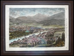 INNSBRUCK, Gesamtansicht, Kolorierter Holzstich Um 1880 - Lithographien