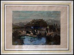 SALZBURG, Gesamtansicht, Kolorierter Holzstich Um 1880 - Lithographien