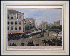 WIEN: Einzug Des Russischen Kaiserpaares, Kolorierter Holzstich Um 1880 - Lithographien