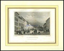 WIEN: Die Laegerzeile Mit Hübscher Personenstaffage Im Vordergrund, Stahlstich Von Hoffmeister/Hoffmeister, 1840 - Lithographien