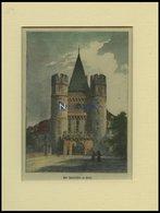 BASEL: Das Spahlentor, Kolorierter Holzstich Um 1880 - Lithographien