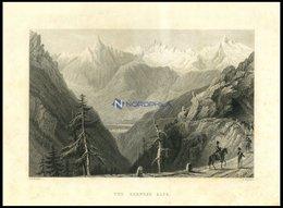 Die BERNER ALPEN, Stahlstich Von Bartlett/Benjamin, 1836 - Lithographien