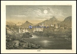 GENF, Gesamtansicht, Getönte Lithographie Aus Malerisches Universum Um 1850 - Lithographien