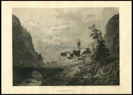 GOESCHENEN CT URI, Gesamtansicht, Stahlstich Von Huber Um 1840 - Lithographien