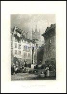 LAUSANNE, Teilansicht, Brunnenszene, Stahlstich Von Bartlett/Wallis, 1836 - Lithographien