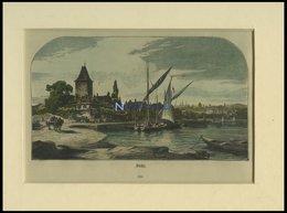 OUCHY, Gesamtansicht Mit Segelschiffen Im Vordergrund, Kolorierter Holzstich Um Um 1880 - Lithographien