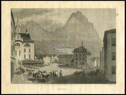 SCHWYZ, Gesamtansicht Mit Hübscher Tier U.-Personenstaffage Im Vordergrund, Stahlstich Von Huber Um 1840 - Lithographien