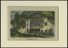 Bei SILENEN: Sust Und Gasthaus, Kolorierter Holzstich Um 1880 - Lithographien
