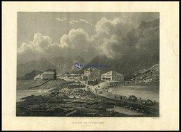 ST. GOTTAHRD: Das Hospiz, Stahlstich Von Huber Um 1840 - Lithographien