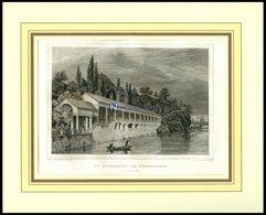 KARLSBAD: Die Colonnaden Des Neubrunnens, Stahlstich Von Poppel/Poppel, 1840 - Lithographien