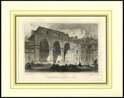 PRAG: Wallensteins Halle, Stahlstich Von Lange/Poppel, 1840 - Lithographien