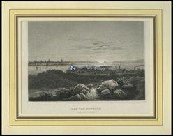 USA: New York, Der Bay Von New York Von Hoboken Ausgesehen, Stahlstich Von B.I. Um 1840 - Lithographien